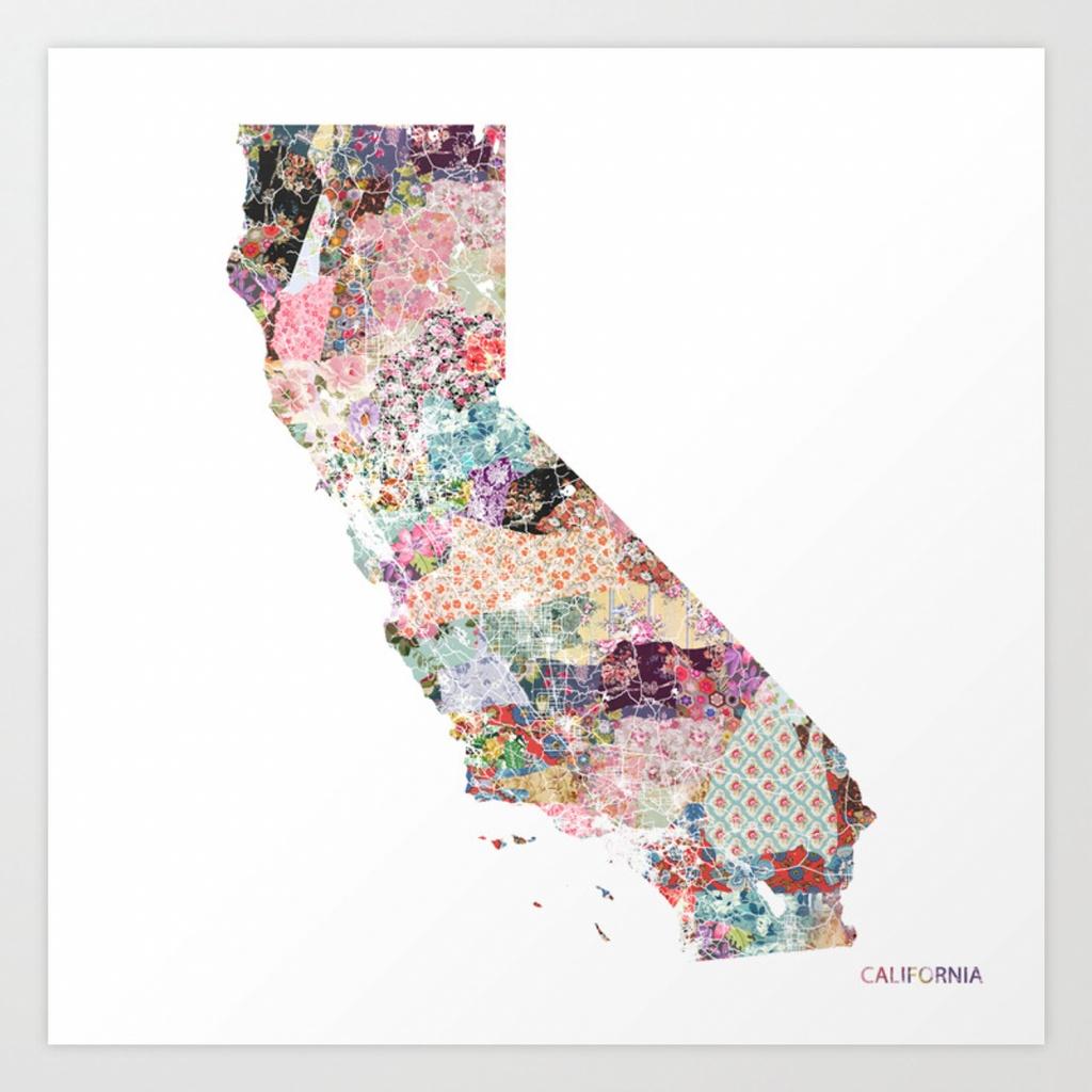 California Map Art Printpoeticmaps   Society6 - California Map Art