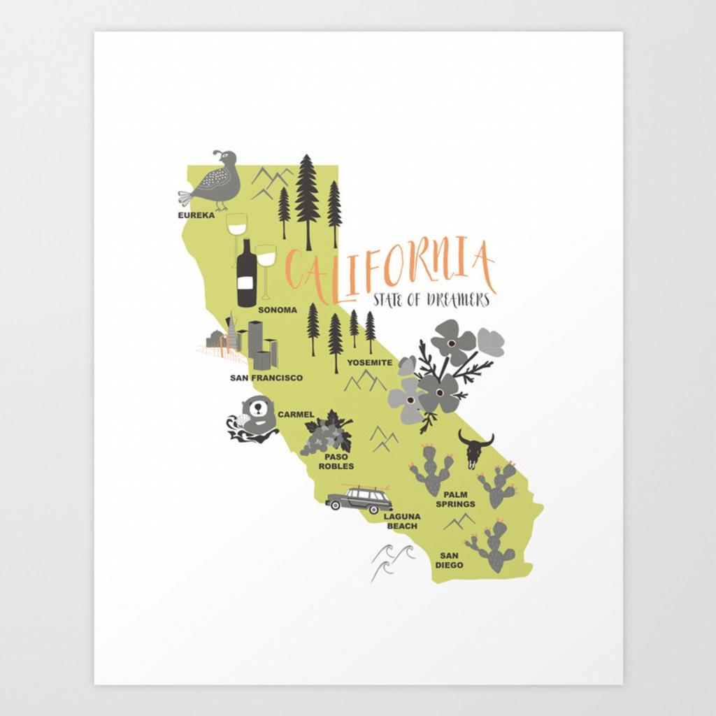 California Map Art Printwillhouse1   Society6 - California Map Art