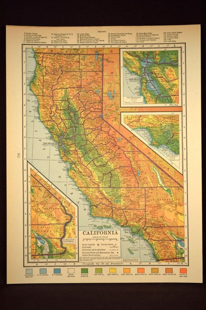 California Map Of California Topographic Map Wall Art Decor Colorful - California Map Wall Art