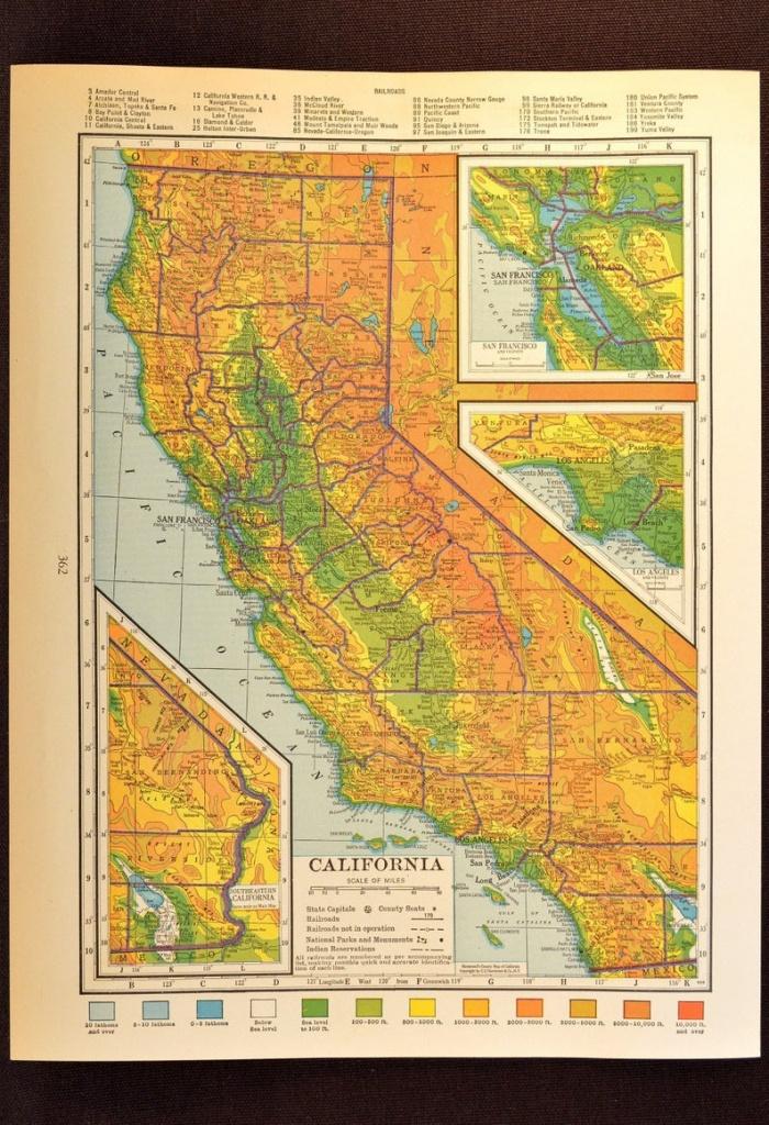 California Map Of California Topographic Map Wall Art Decor | Etsy - California Map Wall Art