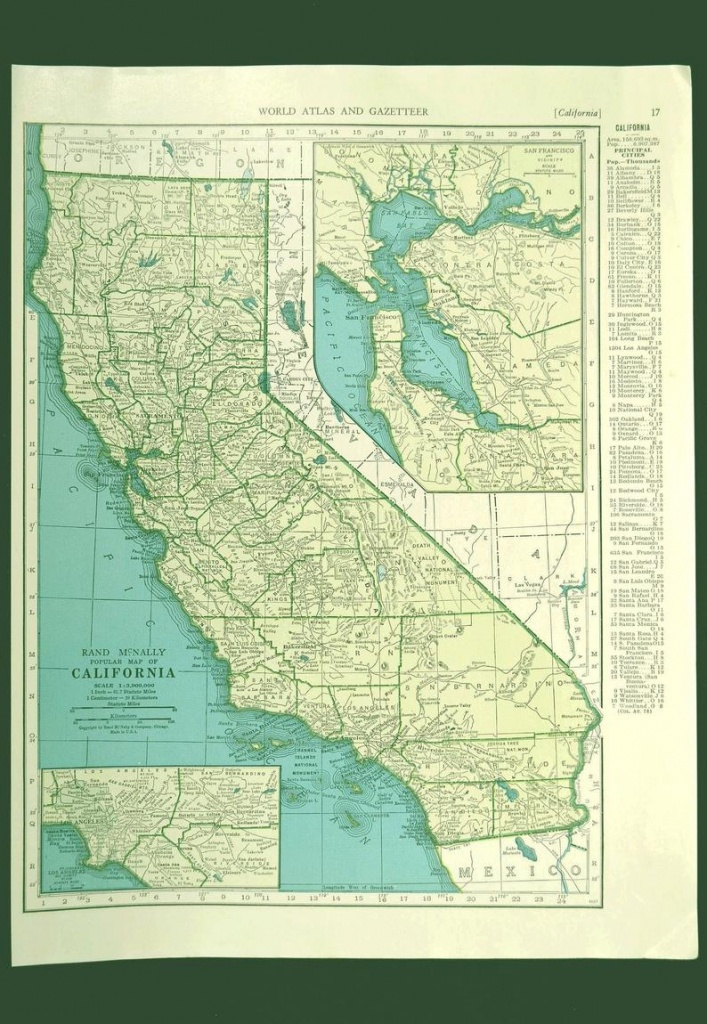 California Map Of California Wall Art Decor Vintage Old 1940S | Etsy - California Map Wall Art