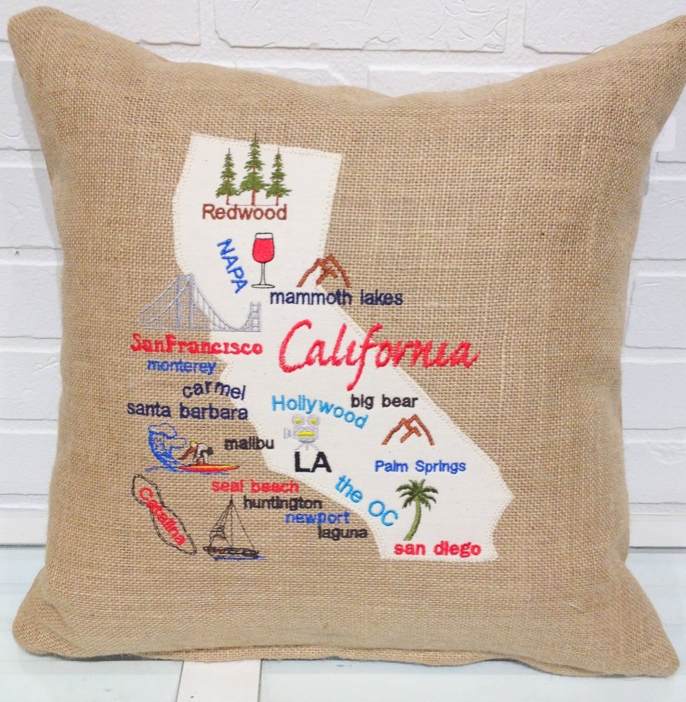 California Map Pillow California Burlap Pillow Burlap   Etsy - California Map Pillow