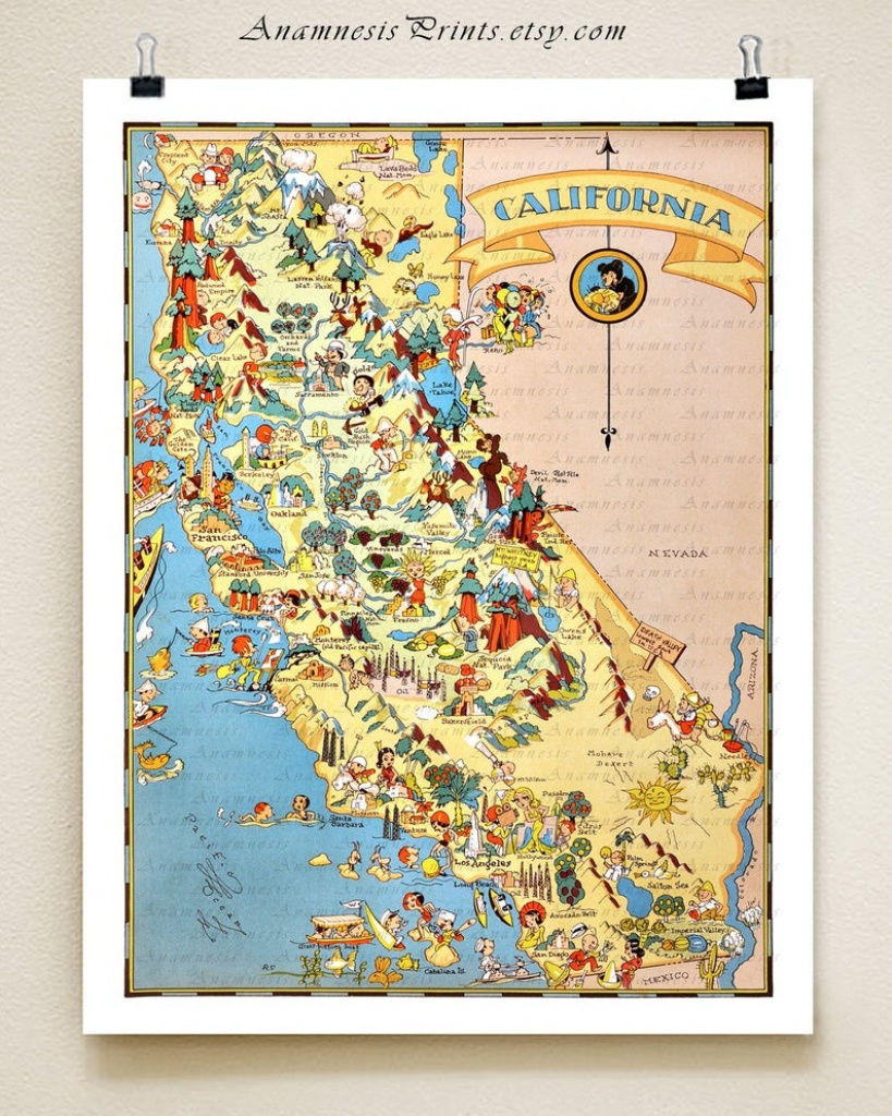 California Map Print Picture Map Illustrated Map Map   Etsy - Illustrated Map Of California