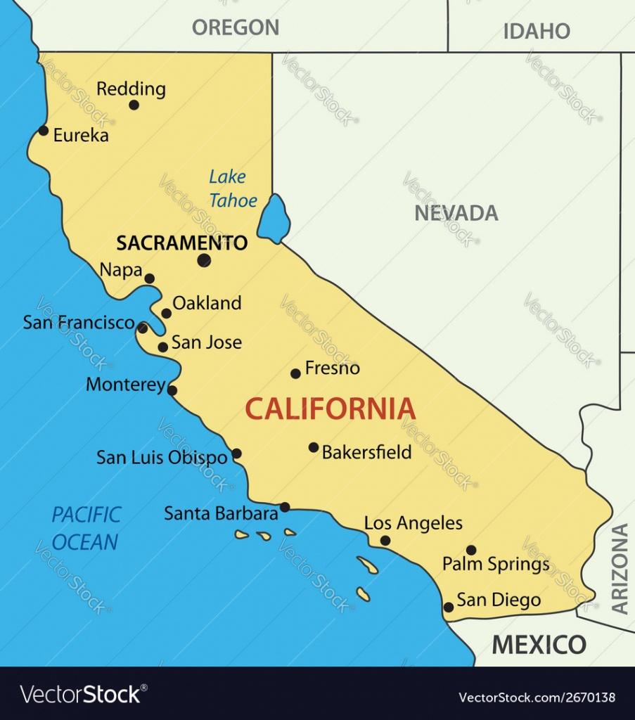 California - Map Royalty Free Vector Image - Vectorstock - Palm Springs California Map