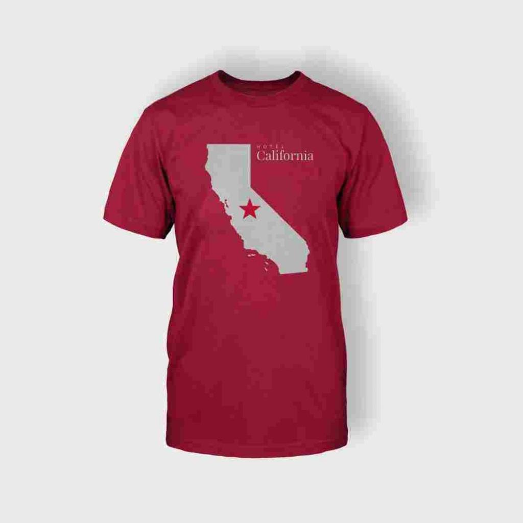 California Map T-Shirt (Red) - Mairie De Combleux - California Map T Shirt