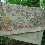 California Map Tablecloth 1950S Vintage Souvenir 4549 Inches   Vintage California Map Tablecloth