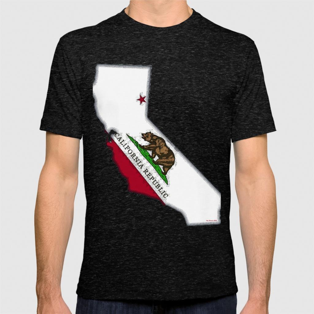 California Map With Californian Flag T-Shirthavocgirl | Society6 - California Map T Shirt