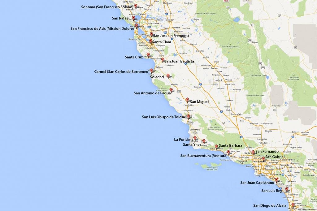 California Missions Map: Where To Find Them - Where Is San Francisco California On Map
