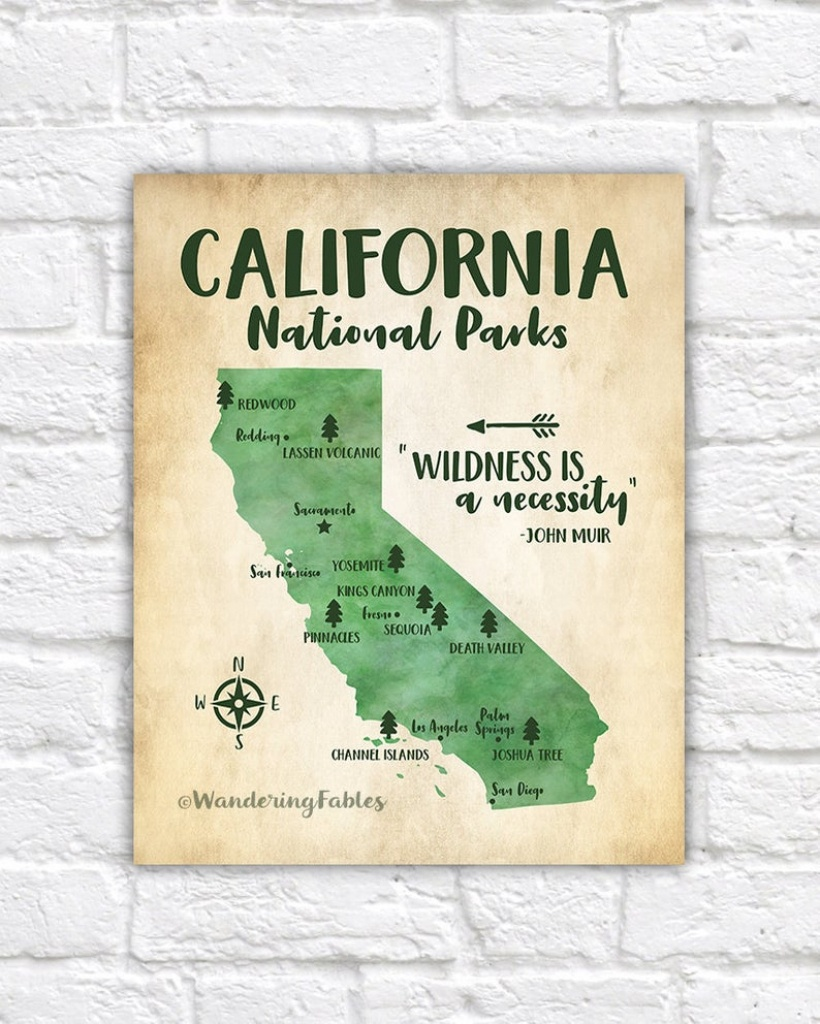 California National Parks Map Adventure Travel Mountains | Etsy - Map Of California Parks