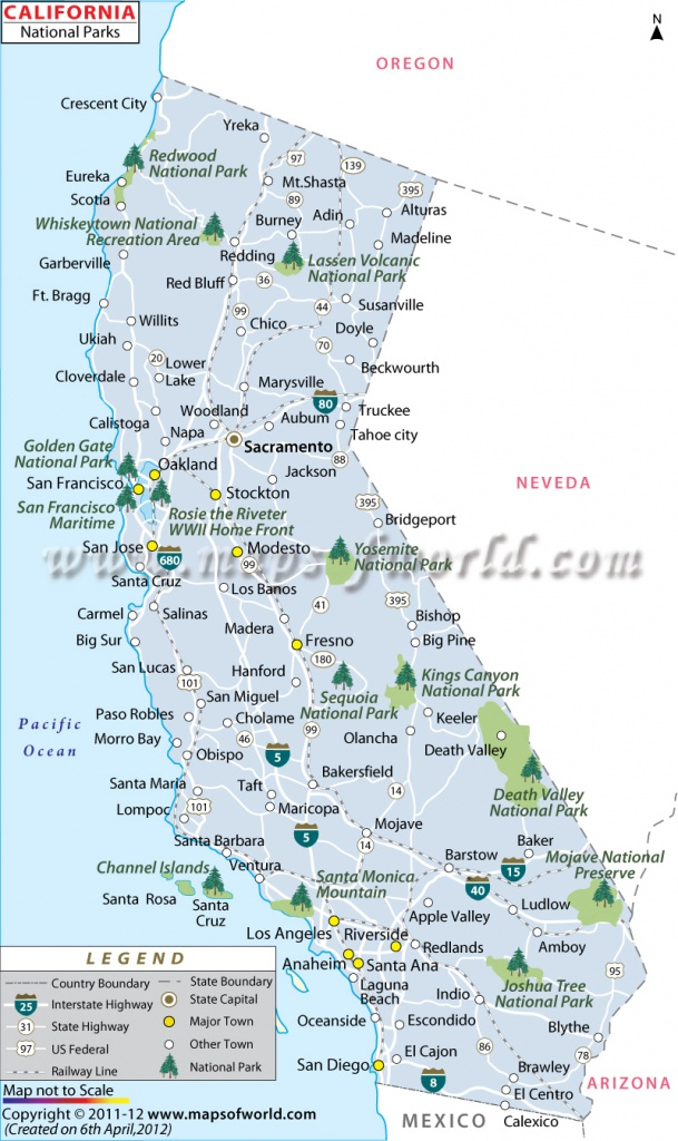 California National Parks Map, List Of National Parks In California - Northern California State Parks Map