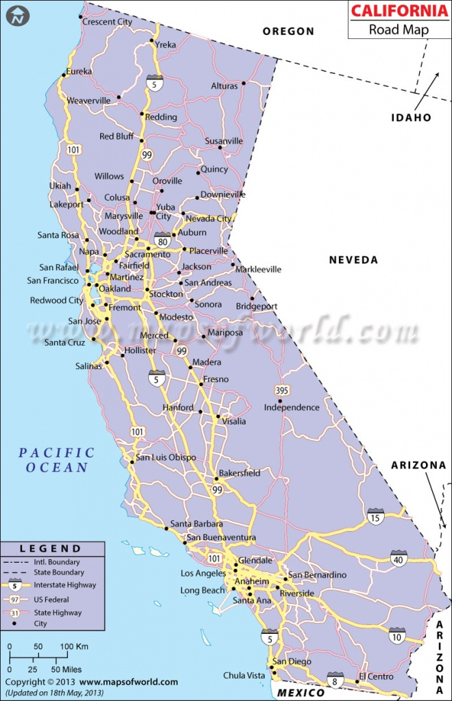 California Road Map, California Highway Map - Detailed Map Of California Cities