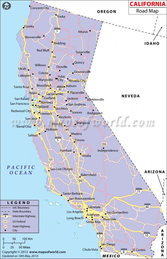 California Road Map, California Highway Map - Map Of California Highways And Freeways