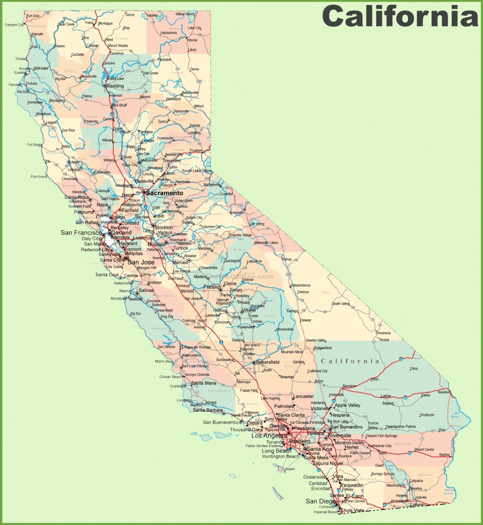 California Road Map - California Map And Cities