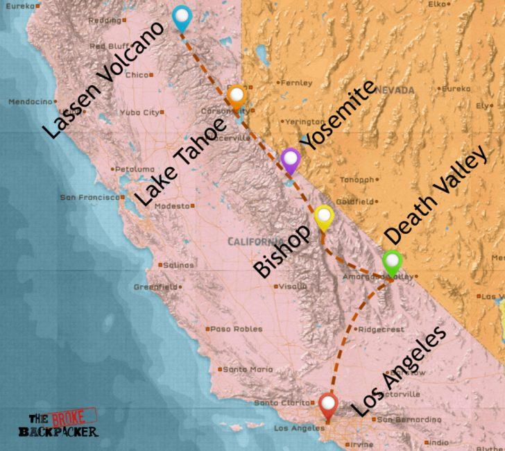 Road Trip California Map