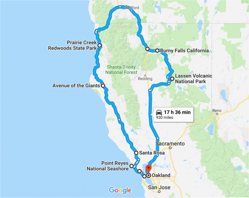 California Road Trip Trip Planner Map The Perfect Northern - Northern California Road Trip Map