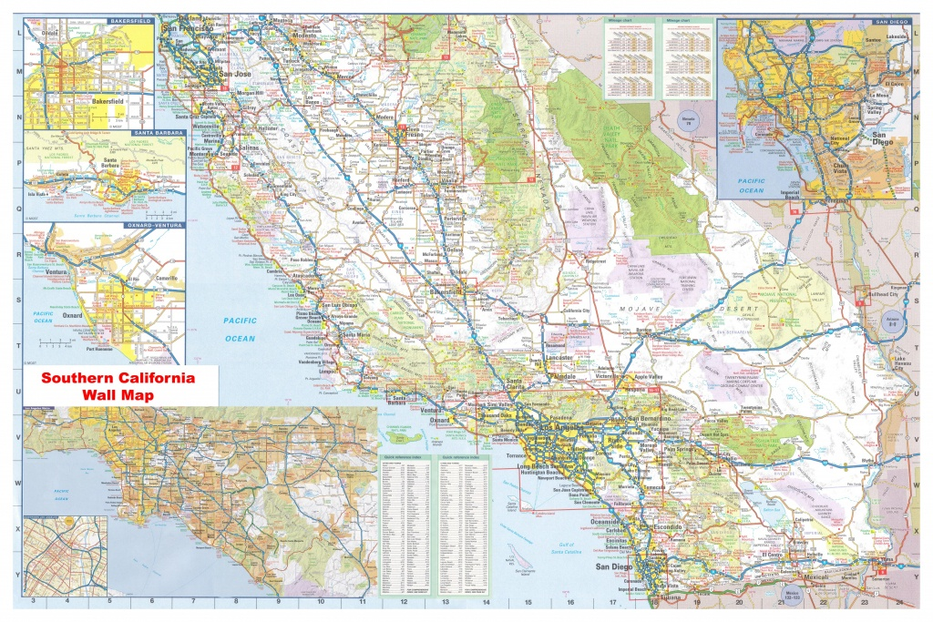 California Southern Wall Map Executive Commercial Edition - Laminated California Wall Map