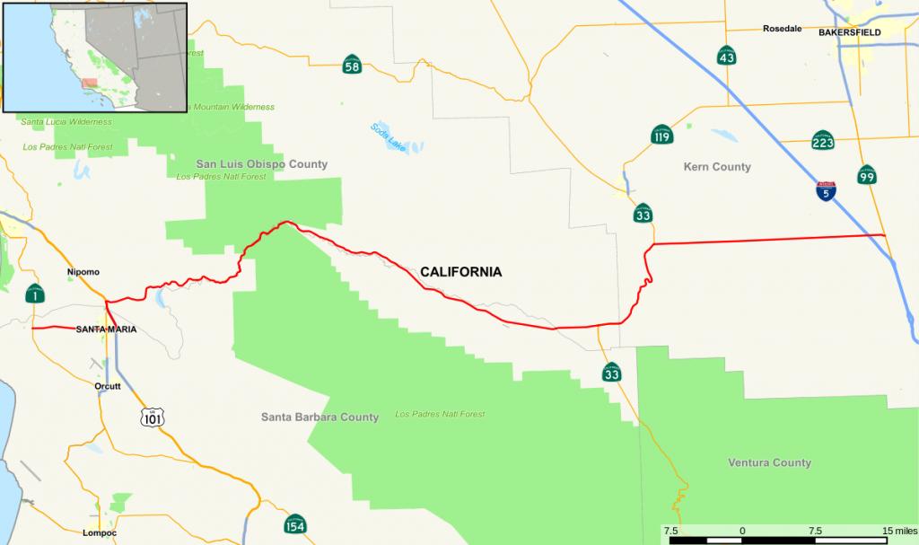 California State Route 166 - Wikipedia - Taft California Map