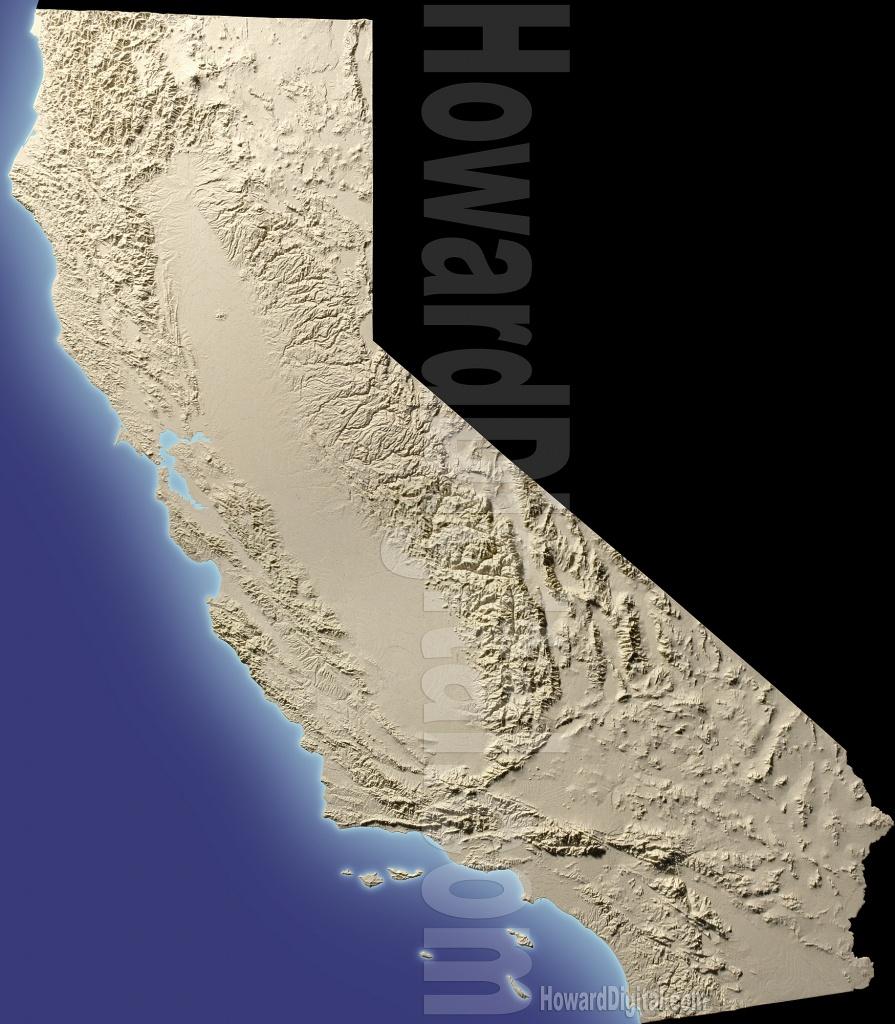 California Terrain Models - Terrain Model - Howard Models - 3D Map Of California