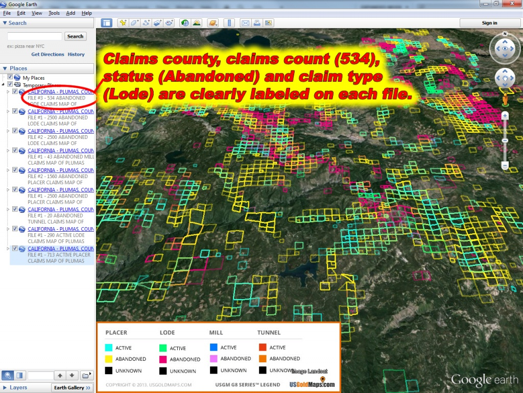 California Us Gold Maps G8 Series™ Placer, Lode, Tunnel & Mill - California Gold Claims Map