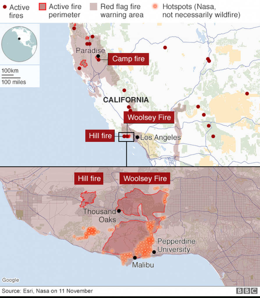 California Wildfires: Fears Of Further Damage As Winds Strengthen - Fire Watch California Map