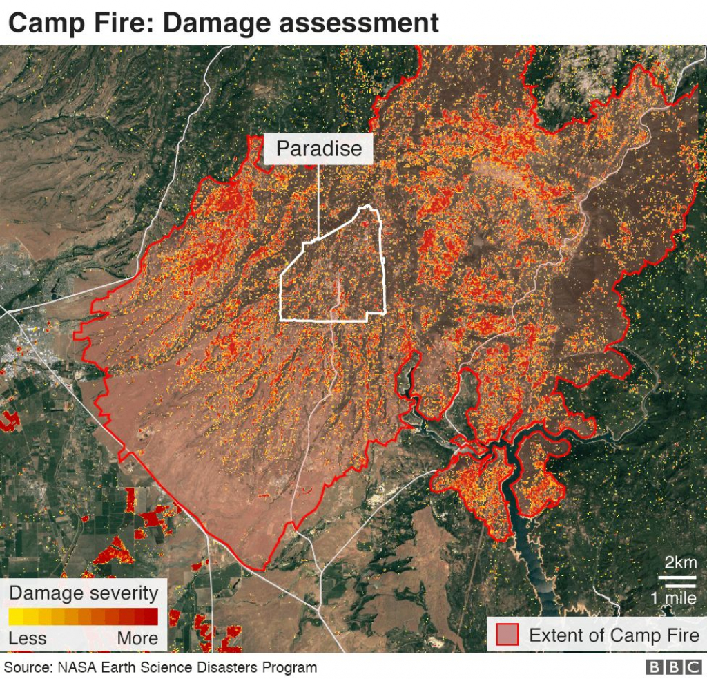 California Wildfires: Thanksgiving Hope From Ashes Of Paradise - Bbc - California Fire Damage Map