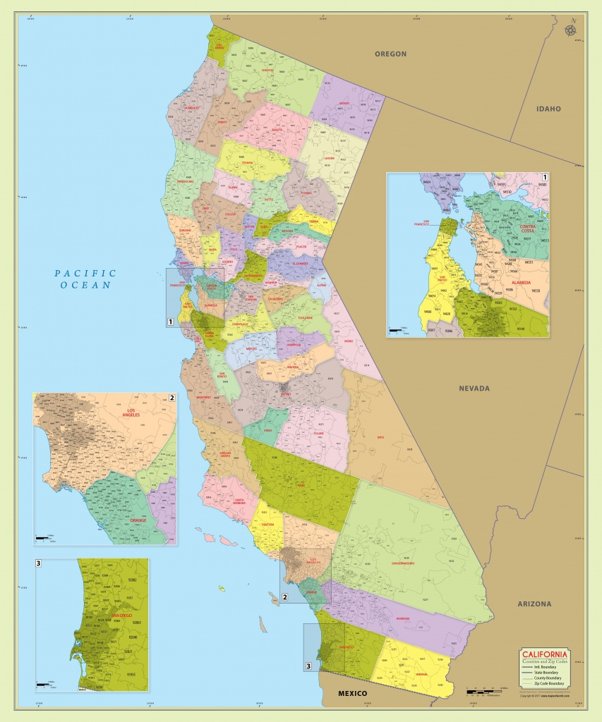 California Zip Code Map With Counties (48″ W X 57″ H - Best California Map