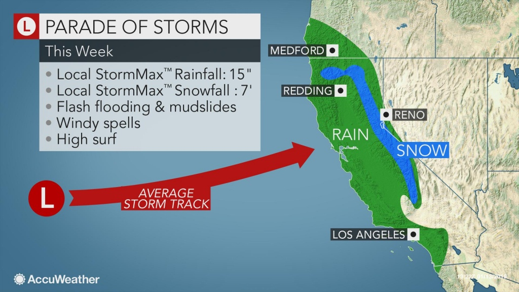 Californians To Face Relentless Wet, Snowy Weather Through The Week - California Weather Map