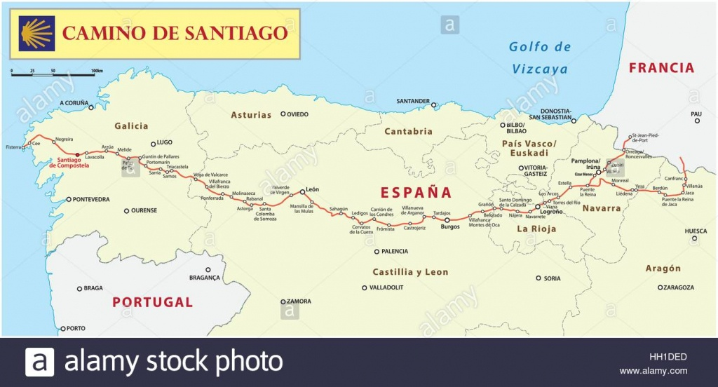 Camino De Santiago Map Stock Photos & Camino De Santiago Map Stock - Printable Map Of Camino De Santiago