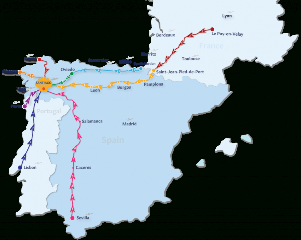 Camino De Santiago Routes | Follow The Camino - Printable Map Of Camino De Santiago