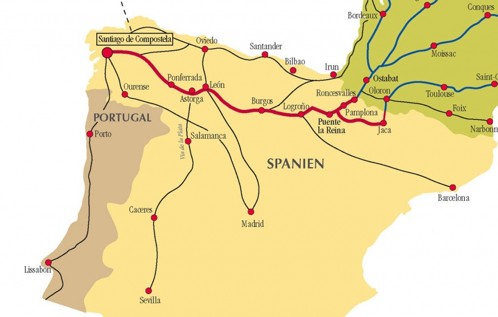Camino De Santiago Routes In Spain - Printable Map Of Camino De Santiago