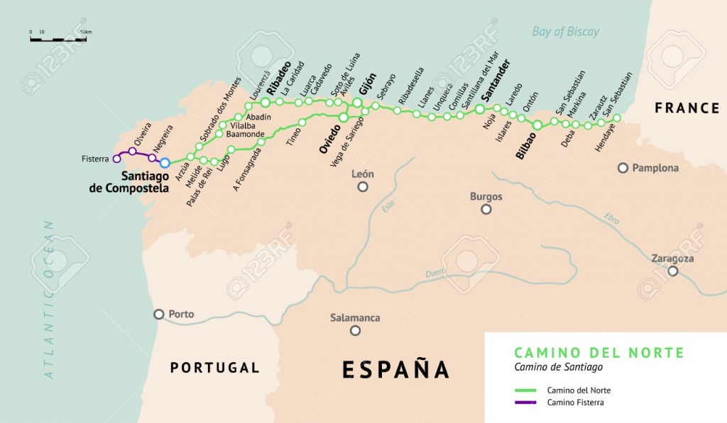 Camino Del Norte Map. Camino De Santiago Or The Way Of St.james - Printable Map Of Camino De Santiago