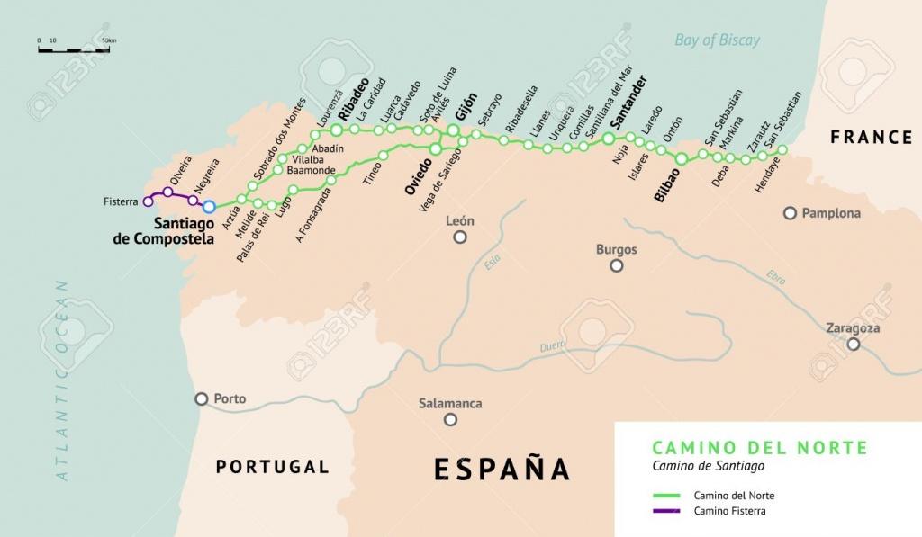 Camino Del Norte Map. Camino De Santiago Or The Way Of St.james - Printable Map Of Camino De Santiago