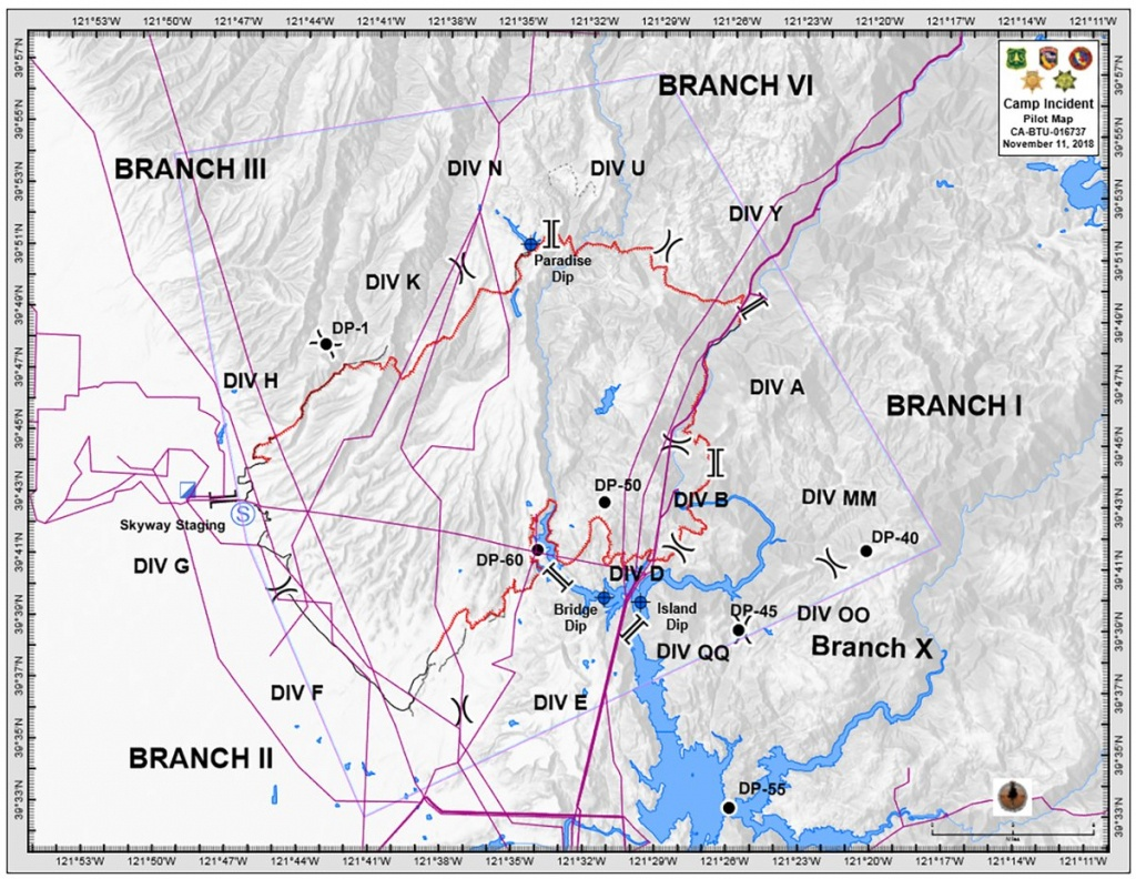 Campfire Updated Branch/division Map. Paradise,california - Live Fire Map California