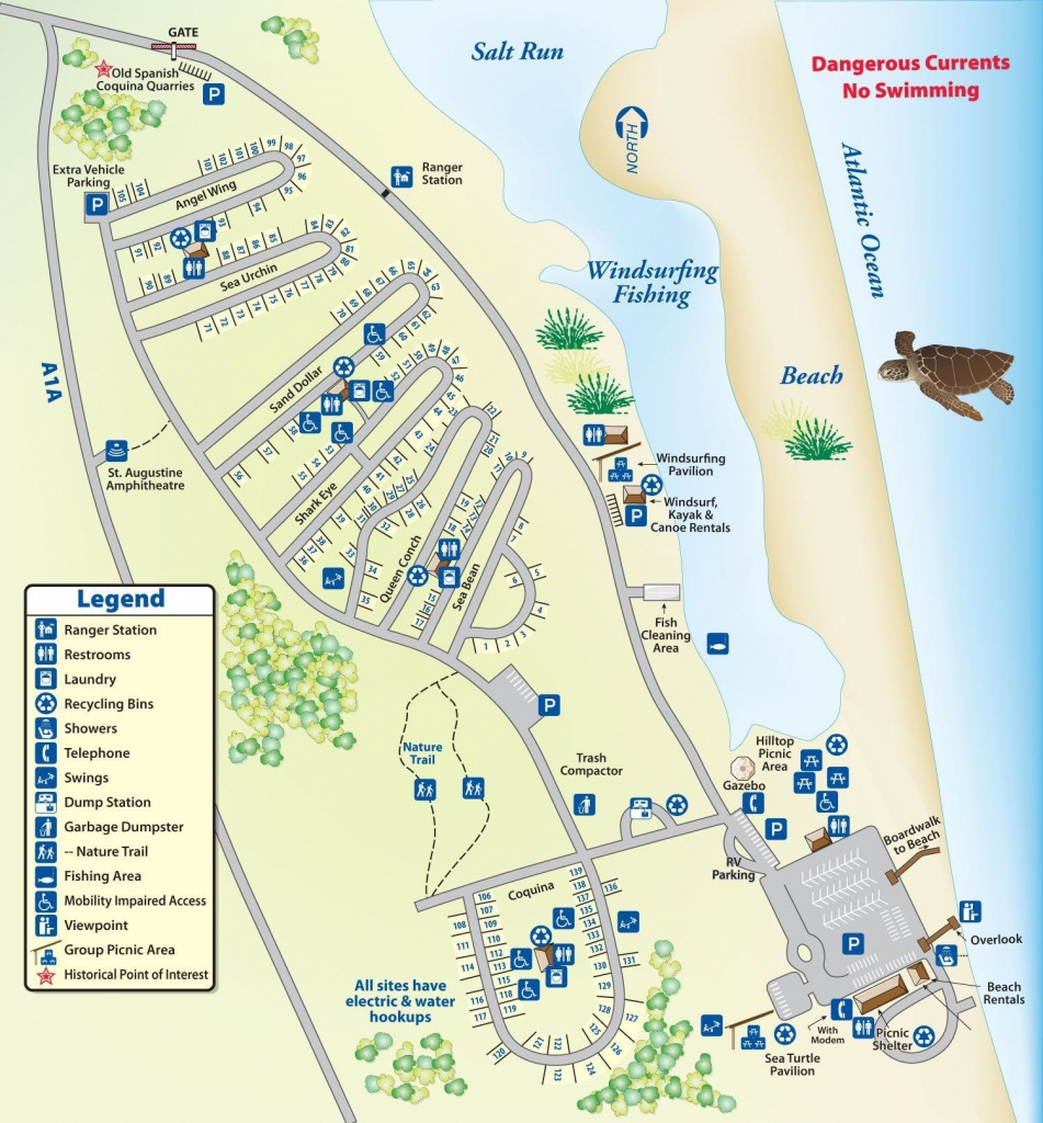Campground Map Anastasia State Park | Florida | Florida Camping - Florida State Campgrounds Map