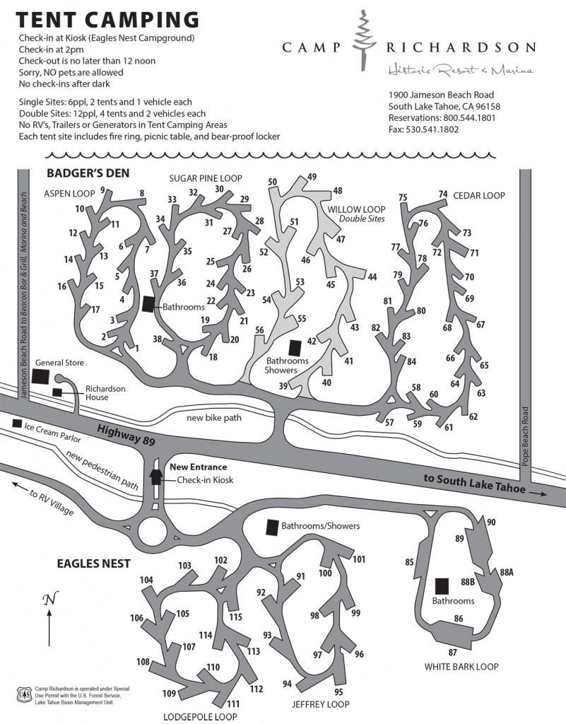 Campground Map - Camp Richardson Historic Resort & Marina - California Tent Camping Map