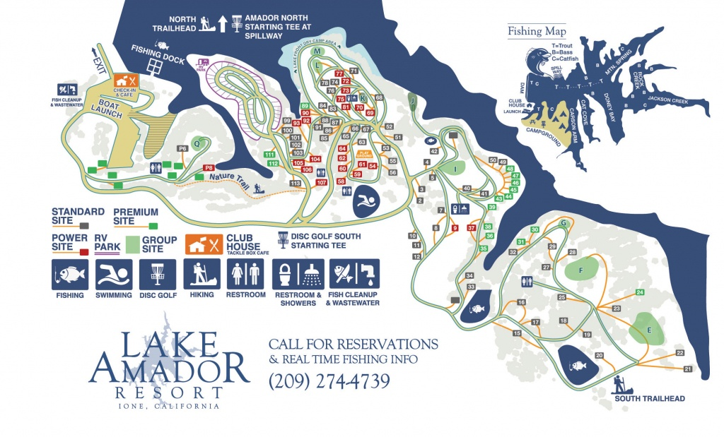 Campground Map – Fishing & Camping In Northern Ca | Lake Amador - California Camping Sites Map