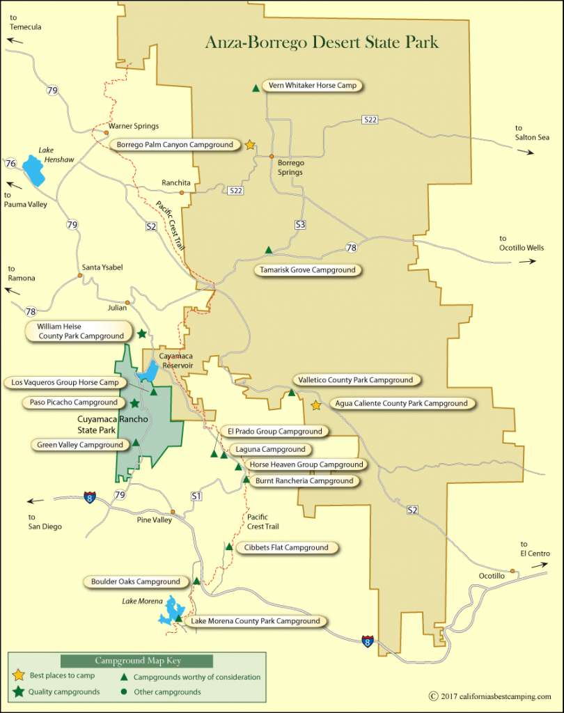 Campground Map Of Anza-Borrego Desert State Park - California State Campgrounds Map