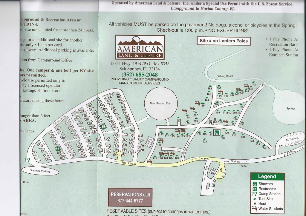 Campground Map - Salt Springs Recreation Area - Salt Springs - Florida - Florida Camping Map