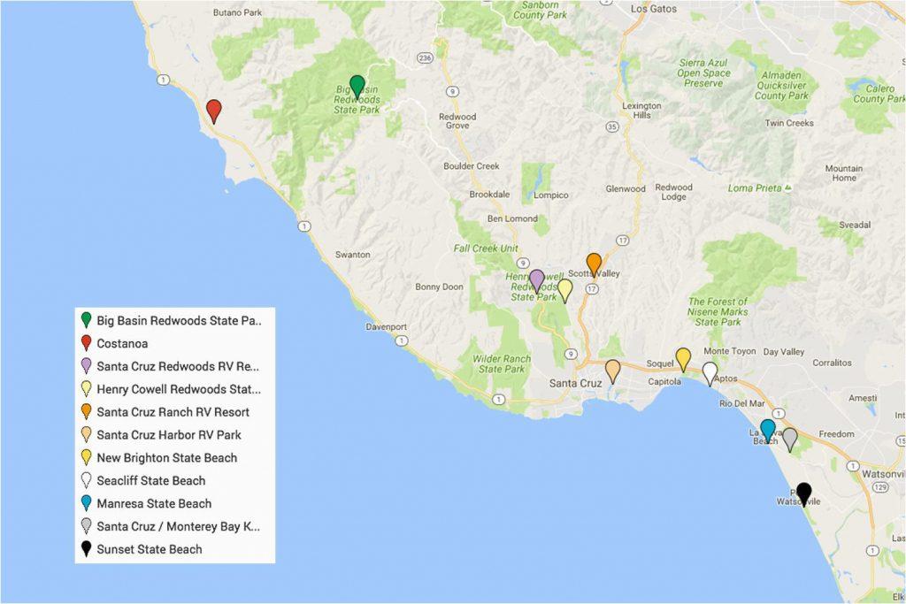 Camping Northern California Map Santa Cruz Camping Places ... on cambria california map, valencia santa clarita california map, carmel california map, aptos california map, marin california map, san diego california map, del monte california map, san francisco california map, sonoma coast california map, long beach california map, solvang california map, big sur california map, stockton california map, san jose california map, monterey california map, sebastopol california map, los angeles california map, merced california map, oakland california map, berkeley california map,