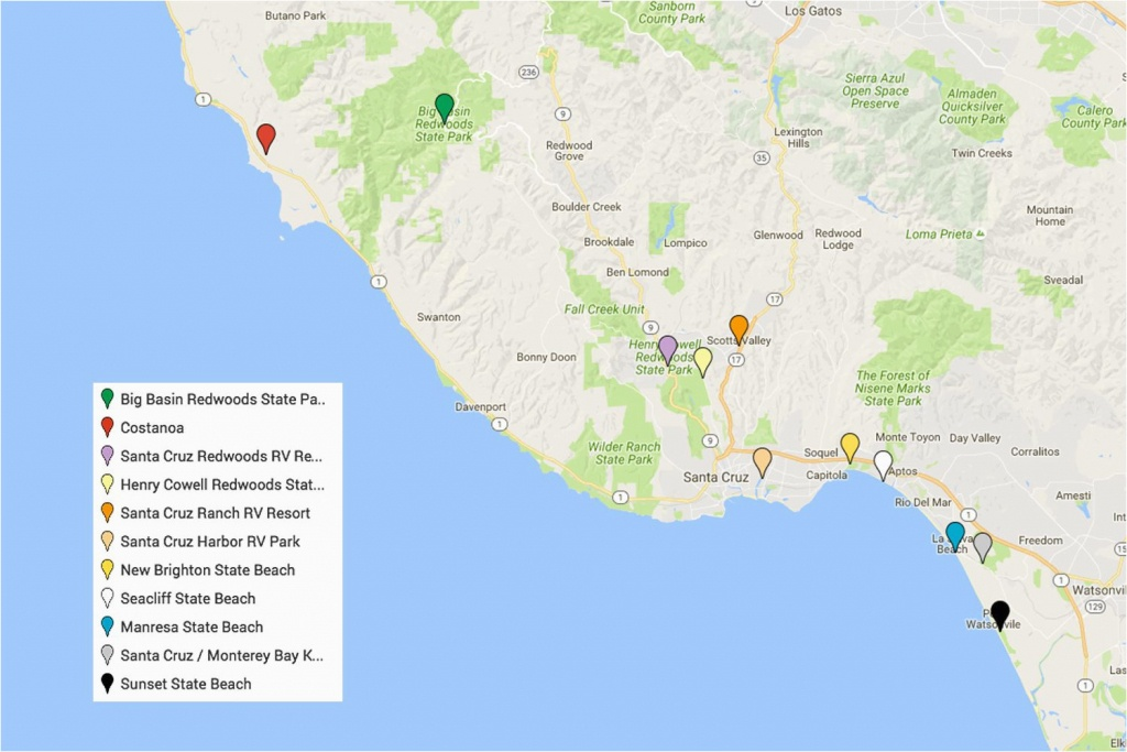 Camping Northern California Map Santa Cruz Camping Places You Will - Santa Cruz California Map