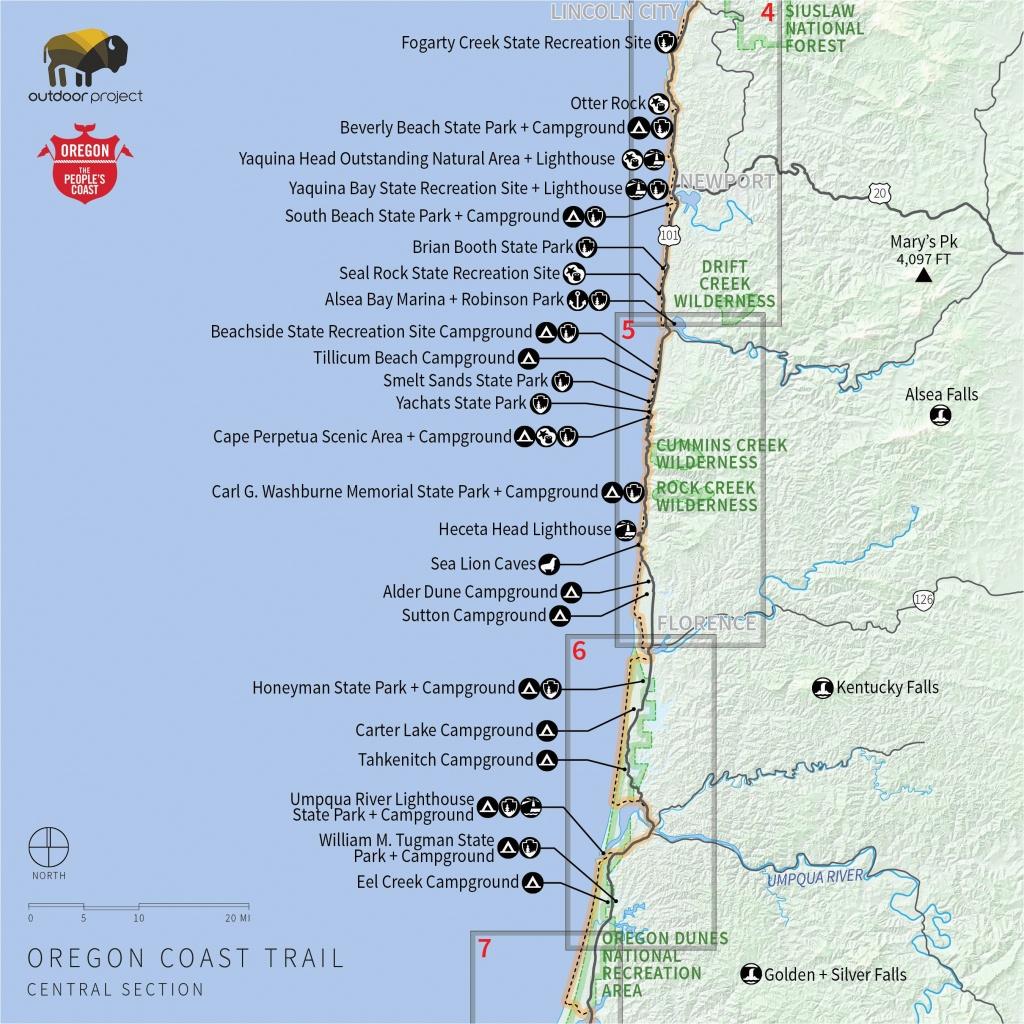 Camping Oregon Coast Map | Secretmuseum - Camping Central California Coast Map