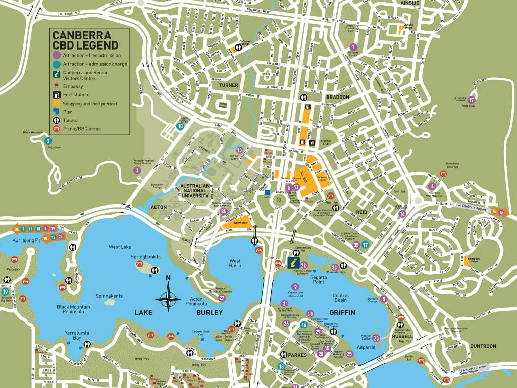 Canberra City Map | Visitcanberra - Printable Map Of Canberra