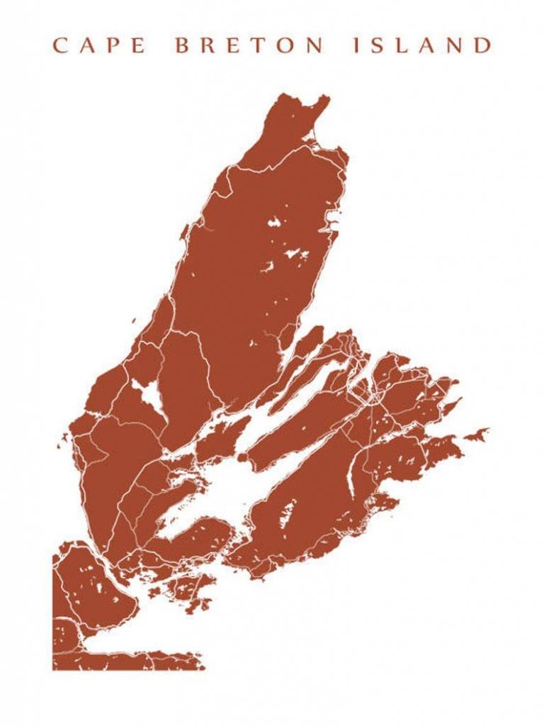 Cape Breton Island Nova Scotia Map Print   Etsy - Printable Map Of Cape Breton Island