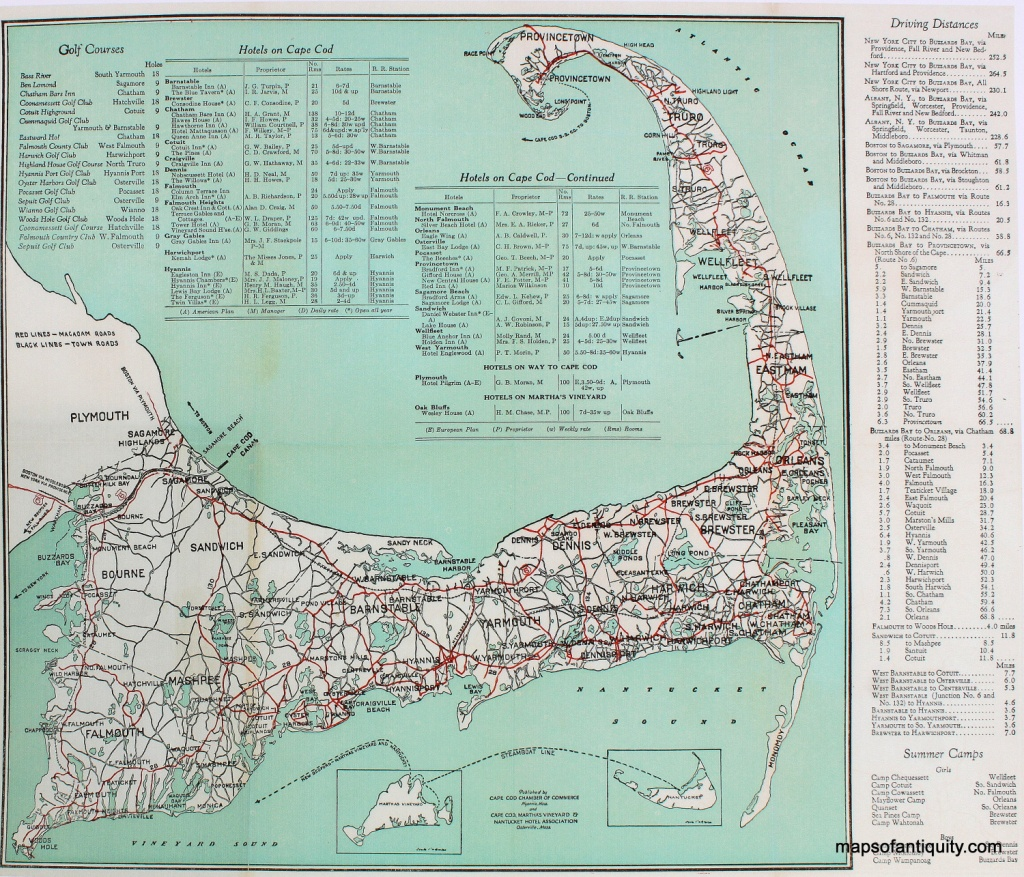 Cape Cod Road Map Print - Reproduction - - Antique Maps And Charts - Printable Map Of Cape Cod