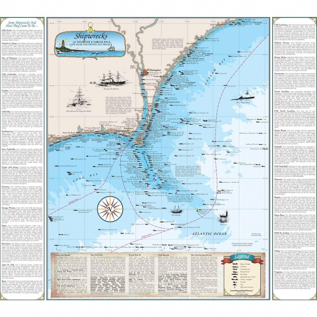 Cape Fear Shipwreck Map - The Map Shop - California Shipwreck Map