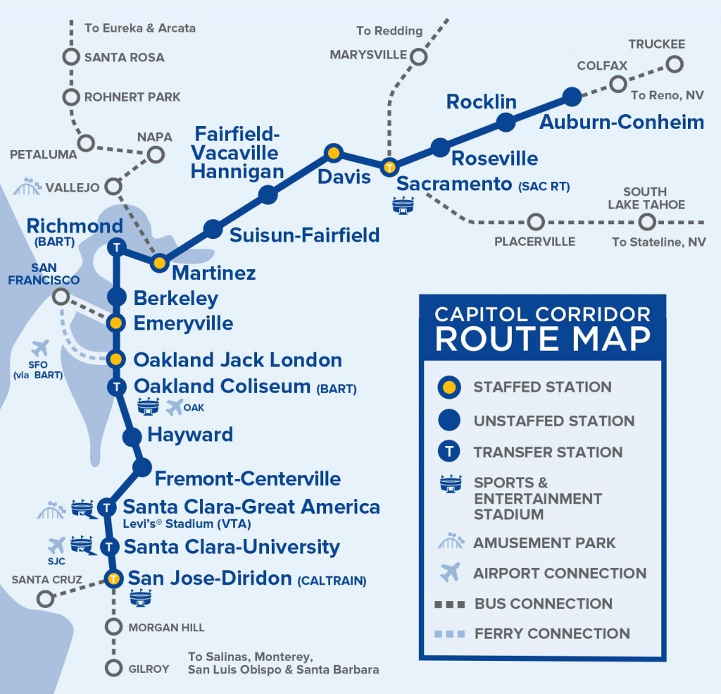 Capital Corridor Train Route Map For Northern California - Amtrak Route Map California