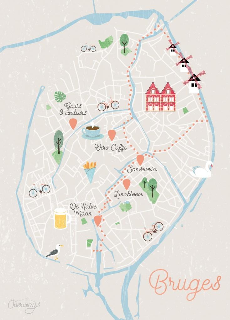 Carte De Bruges Illustrée - Överways.fr Illustrated Map Travel Of - Bruges Map Printable