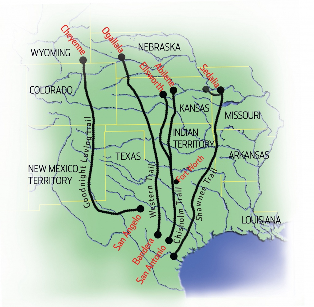 Cattle Drives Map   Cattle Drives   Cattle Drive, Teaching Social - Texas Cattle Trails Map