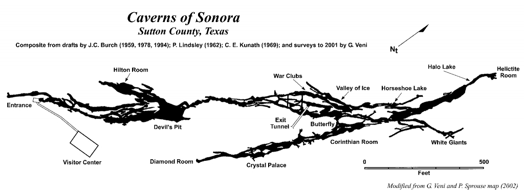Caverns Of Sonora | Texas Speleological Survey | Tss | Cave Records - Caves In Texas Map