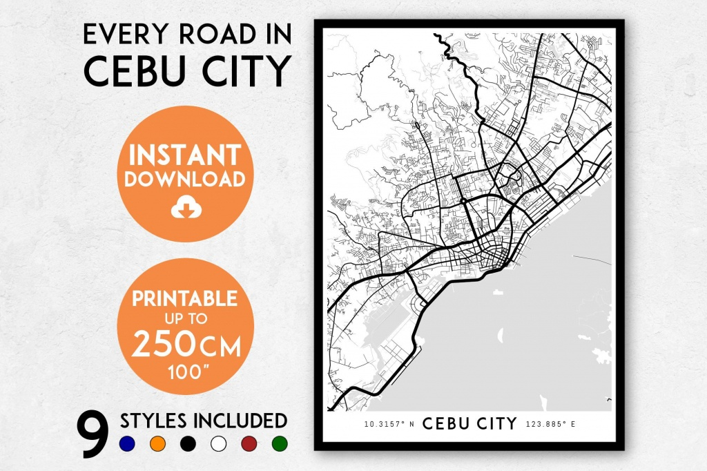 Cebu City Map Print Cebu City Print Cebu City Map | Etsy - Cebu City Map Printable